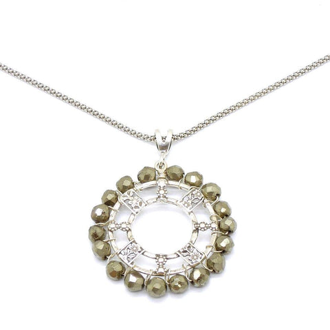Necklace - Silver Necklace With Pyrite And Flower Designs