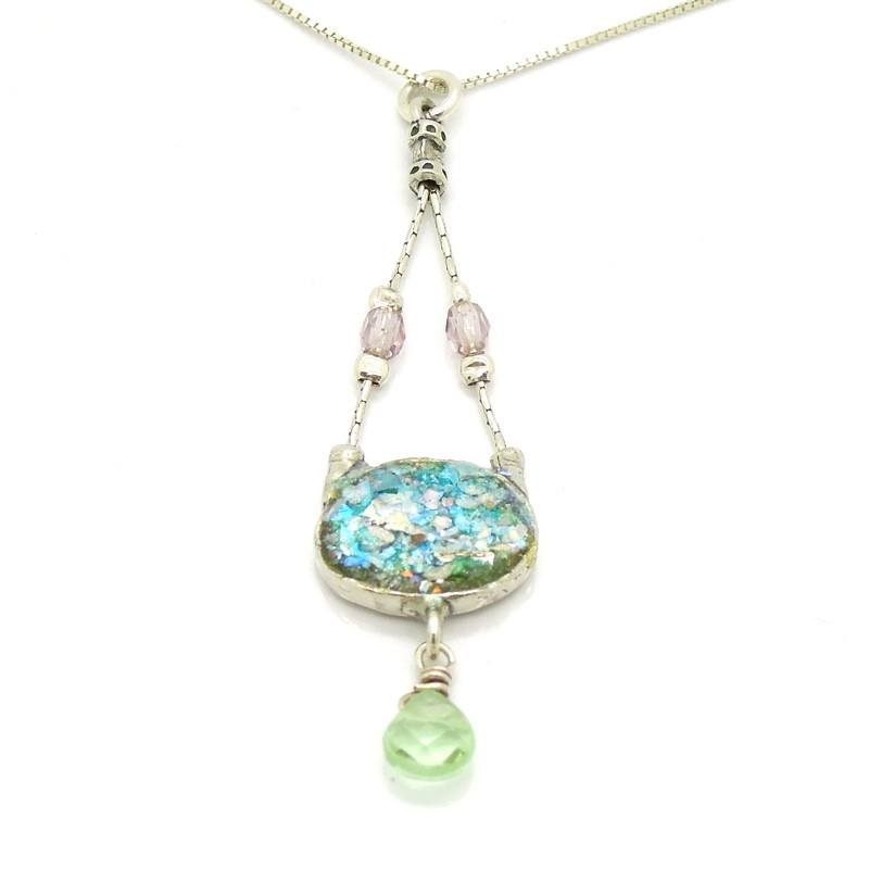 Necklace - Silver Necklace With Roman Glass & Peridot