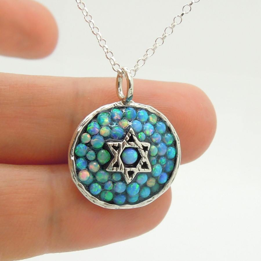 Necklace - Silver Star Of David Pendant With Mosaic Opal Stones