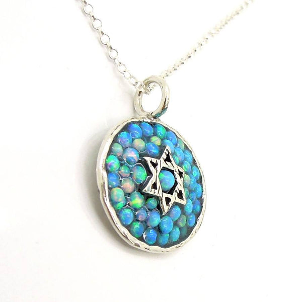 Silver star of david necklace with mosaic opal stones for Star of david jewelry wholesale