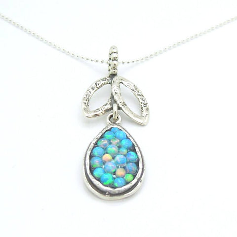 Necklace - Sterling Silver Drop & Leaf Shaped Pendant With Mosaic Opal Stones