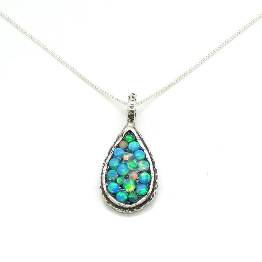 Necklace - Sterling Silver Drop Shaped Pendant With Mosaic Opal Stones