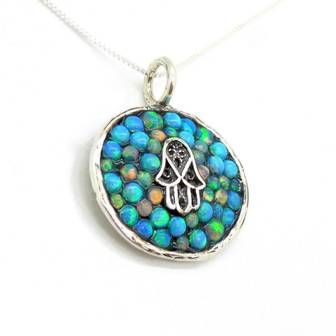 Necklace - Sterling Silver Hamsa Pendant With Mosaic Opal Stones