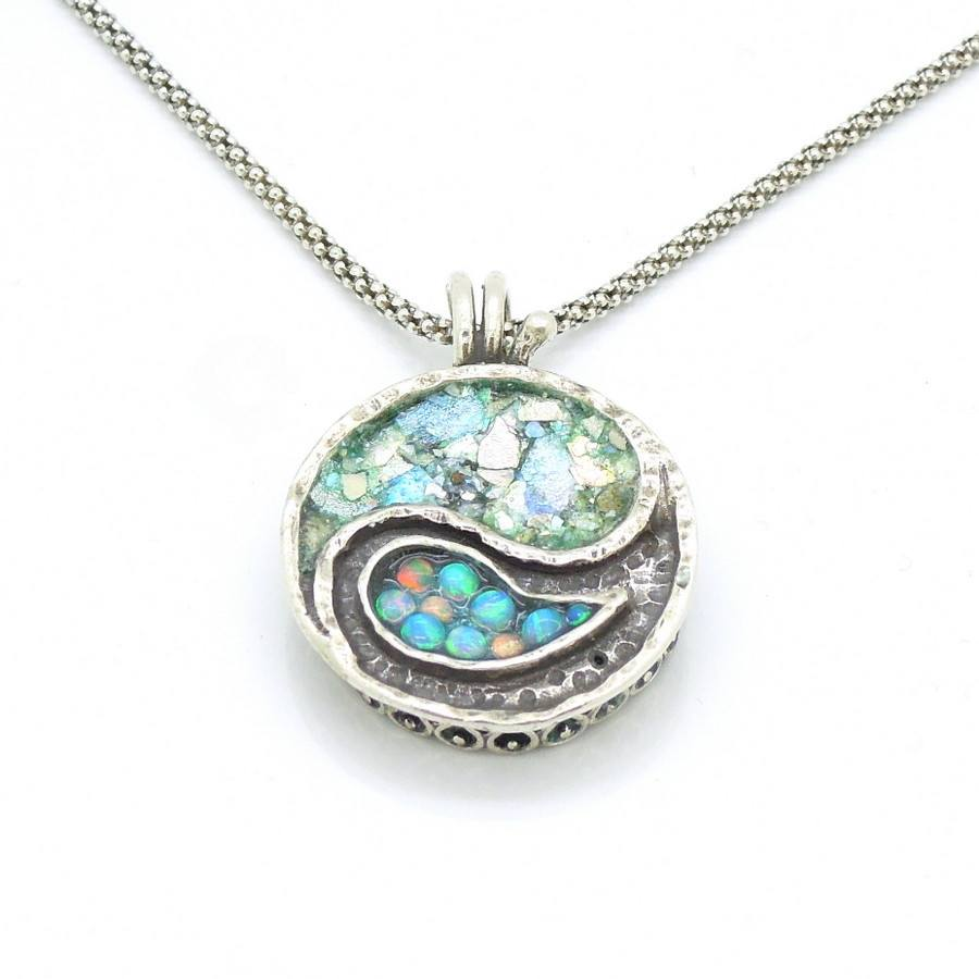 Necklace - Yin Yang Necklace Silver Sterling Pendant With Mosaic Opal & Roman Glass