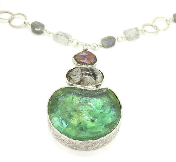 One Of A Kind - Labradorite, Grey Pearl, Rutilated Quartz And Glass Necklace