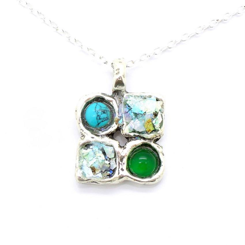 Pendant  - Agate & Green Turquoise Roman Glass Necklace