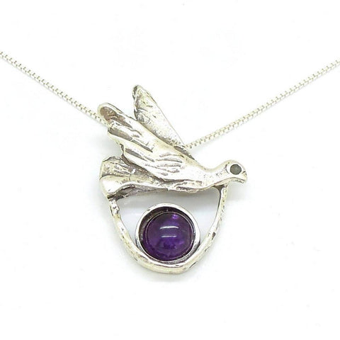 Pendant - Amethyst Necklace With A Silver Dove Pendant