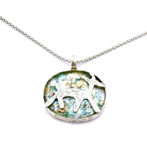 Pendant - Animal Figure In A Sterling Silver And Roman Glass Pendant