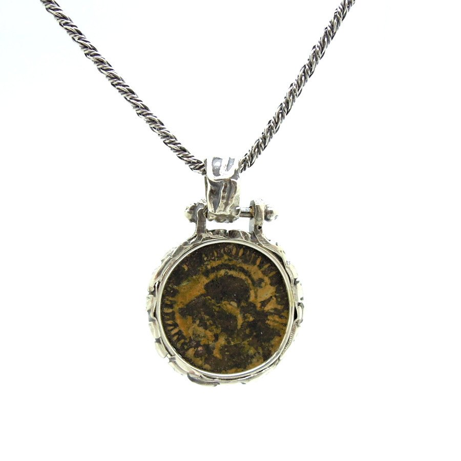 roman coin product sioro antique necklace zenith glossy frame silver oxidized