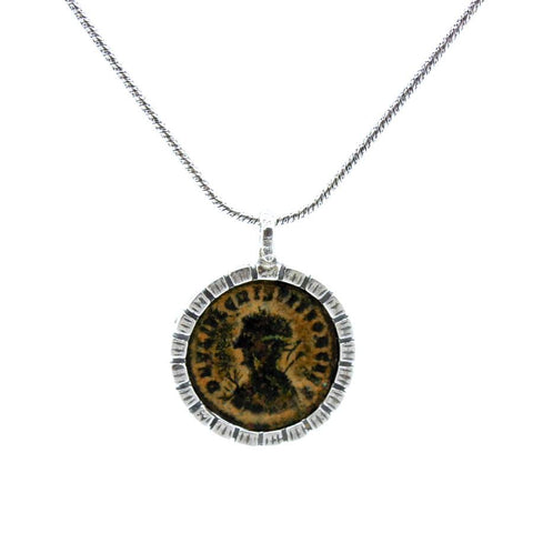 Pendant - Authentic Ancient Late Roman Coin Set In 925 Sterling Silver Round Pendant