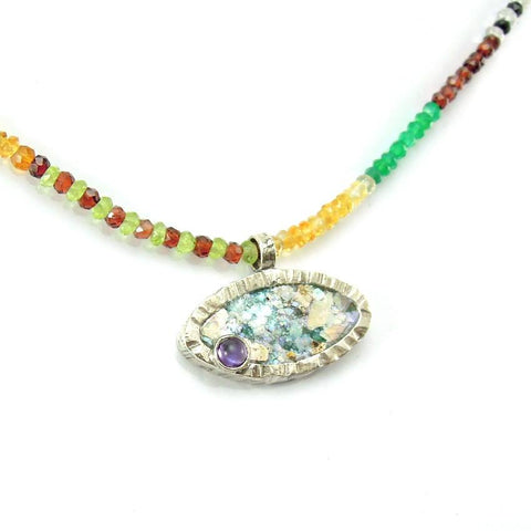 Pendant  - Beaded Necklace With Gemstones Oval Roman Glass Pendant