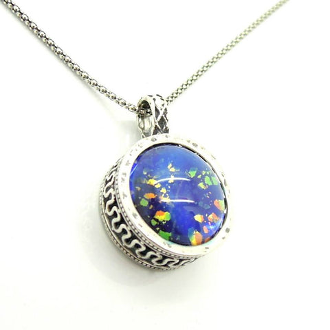 Pendant  - Blue Murano Necklace Round Pendant