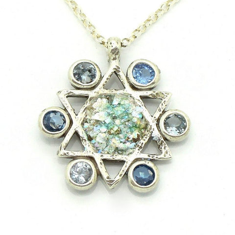 Pendant  - Blue Topaz Star Of David Glass Necklace