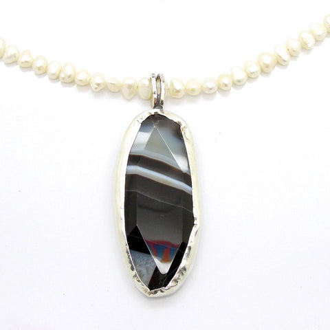 Pendant  - Botswana Agate Pearl Necklace