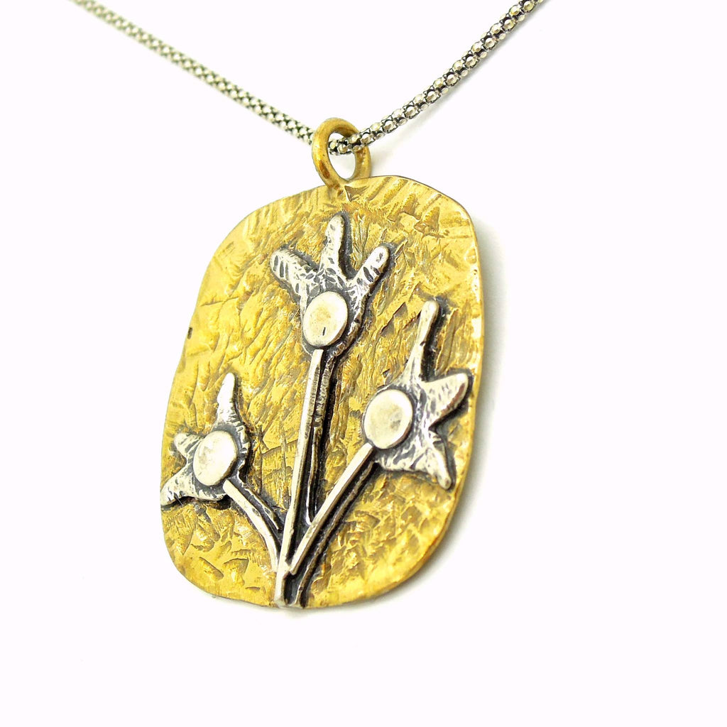 Pendant - Brass Pendant Necklace With Silver Flowers