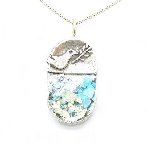 Pendant  - Dove Holding An Olive Tree Branch Peaceroman Glass Necklace