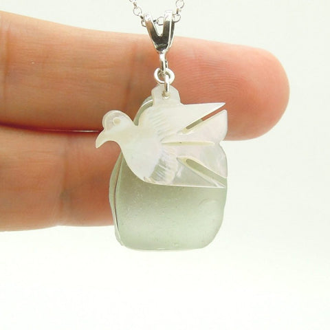 Pendant - Dove Shaped Pearl & Silver Sea Glass Pendant