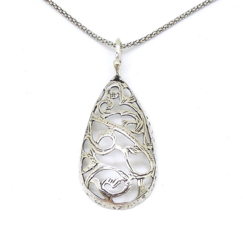 Pendant - Drop Shape Filigree Design Sterling Silver Pendant