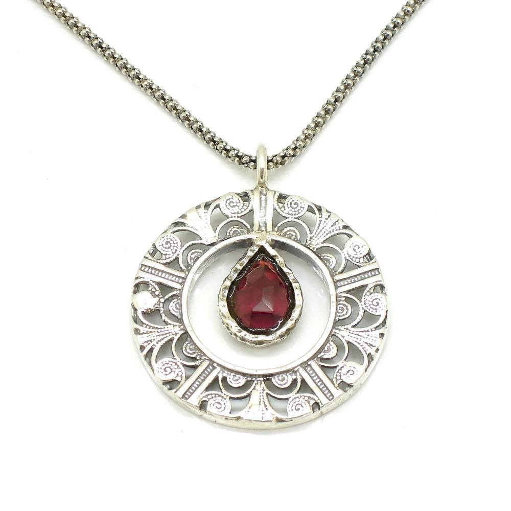 Pendant - Drop Shaped Garnet In A Round Filigree Silver Pendant