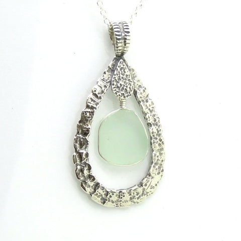 Pendant - Drop Shaped Sterling Silver & Sea Glass Pendant