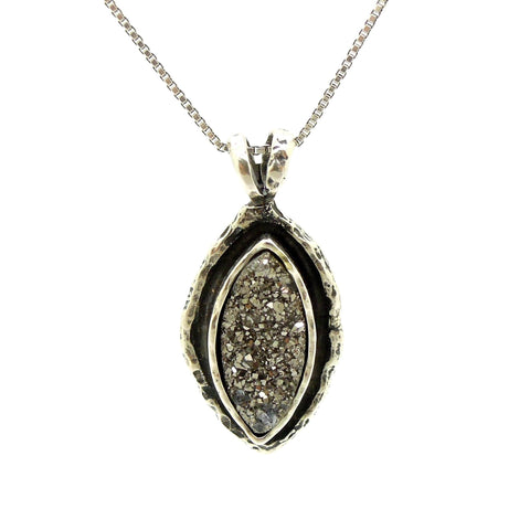Pendant - Druzy Pendant Necklace, Oval Shaped Set In Sterling Silver