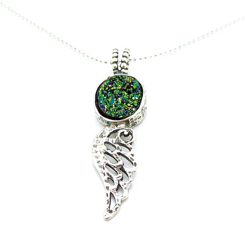 Pendant - Druzy Pendant Necklace With An Angel Wing
