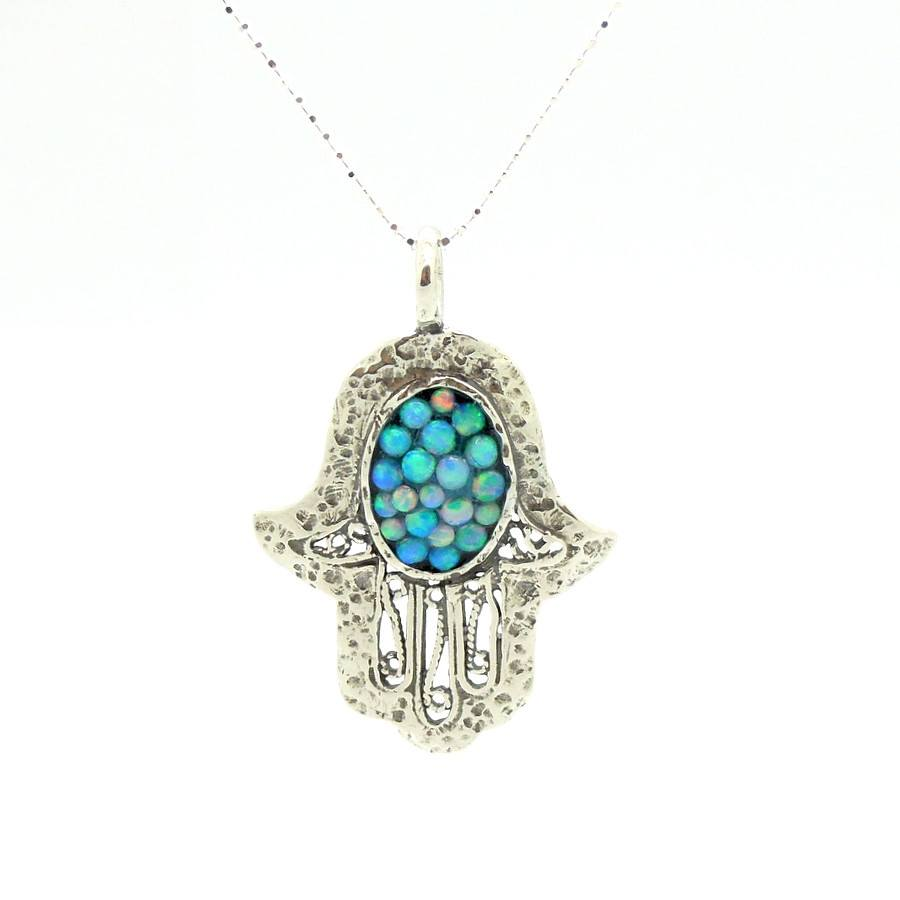 Pendant - Filigree Sterling Silver Hamsa Pendant With Mosaic Opal Stones