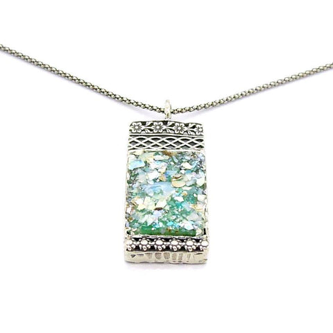 Pendant - Filigree Sterling Silver Necklace With Roman Glass