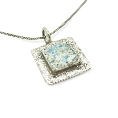 Pendant  - Flat And Square Roman Glass Pendant