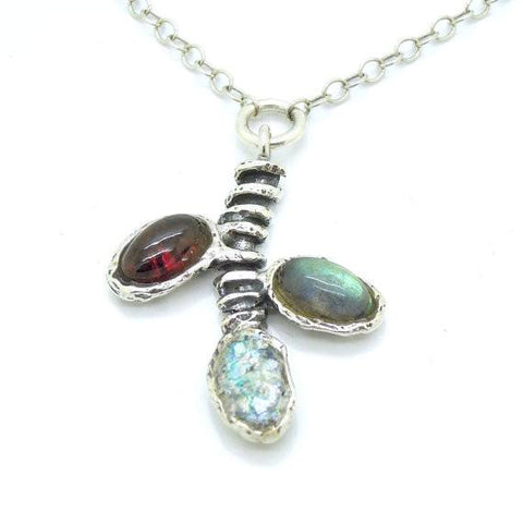Pendant - Fruit Tree Branch Necklace With Garnet, Labradorite And Roman Glass