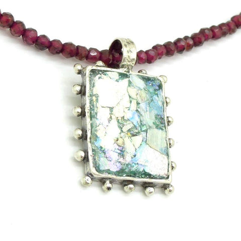 Pendant - Garnet Bead Necklace With A Square Silver Pendant And Roman Glass