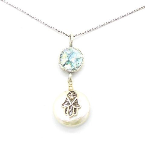 Pendant  - Hamsa Hand Pearl And Roman Glass Necklace
