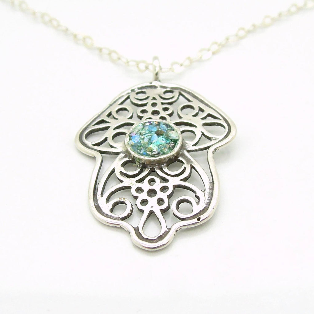 Pendant - Hamsa Pendant, Filigree Design, Silver Necklace With Roman Glass