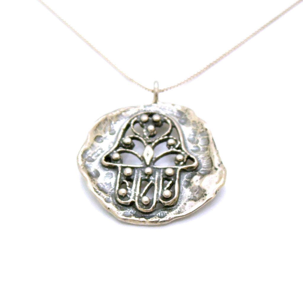 Star of david necklace silver and ancient roman glass square circle hamsa pendant filigree design sterling silver metalwork aloadofball