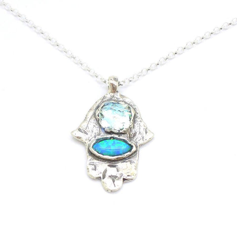 Pendant  - Hamsa Silver Pendant With Roman Glass And Opal