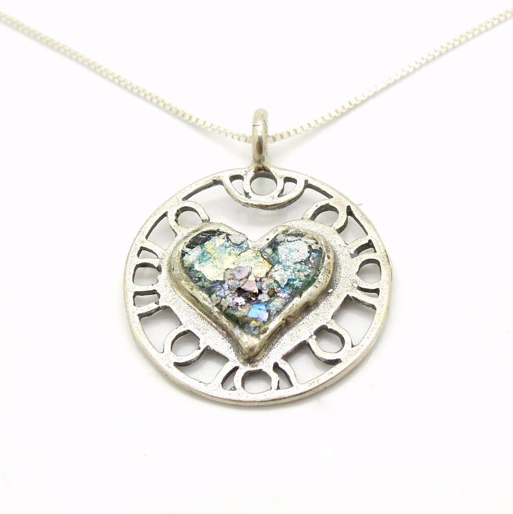 Pendant - Heart Necklace Pendant, Filigree Design With Roman Glass
