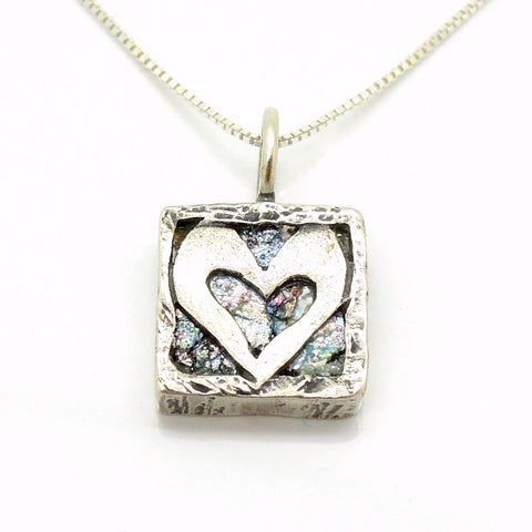 Pendant - Heart Necklace Pendant, Set In Silver & Roman Glass