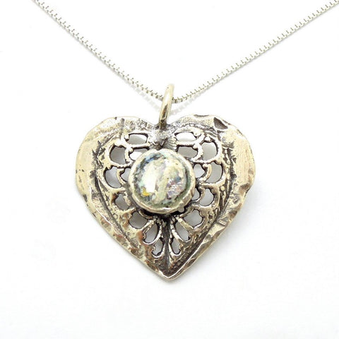 Pendant  - Heart Necklace Silver And Roman Glass Pendant