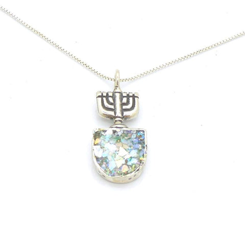 Pendant  - Jewish Menorah Silver And Roman Glass Pendant