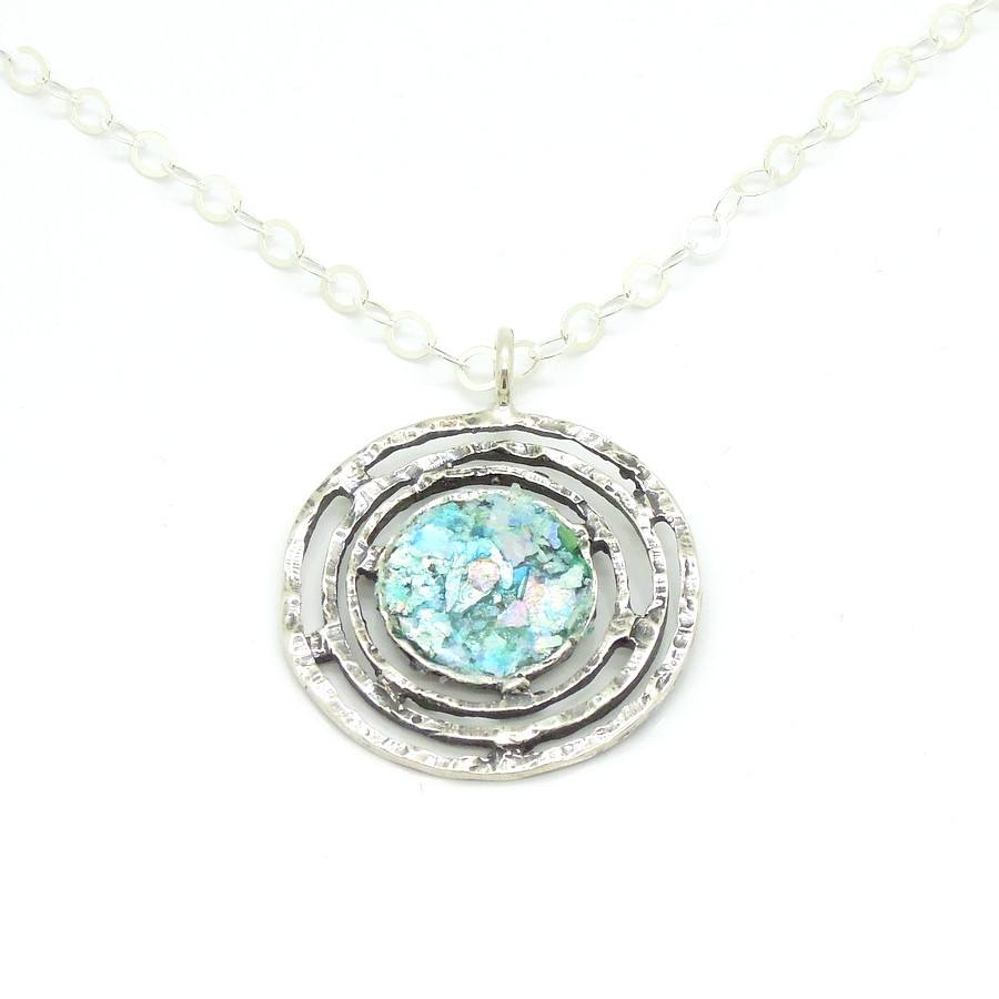 Pendant - Large Round Silver Pendant With Roman Glass