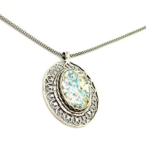 Pendant - Oval Filigree Silver Necklace With Roman Glass