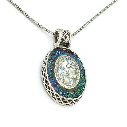 Pendant - Oval Silver Pendant With Green Druzy Agate And Roman Glass