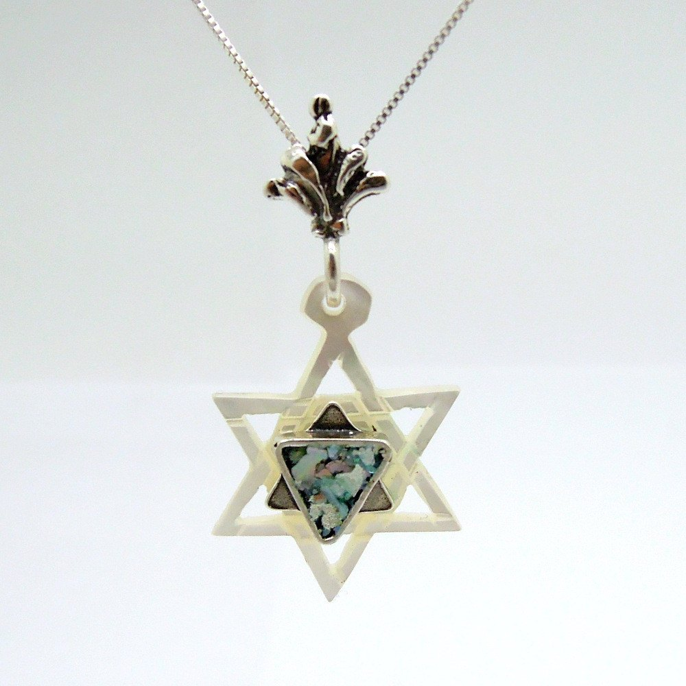Pendant  - Pearl Star Of David Silver And Roman Glass Necklace
