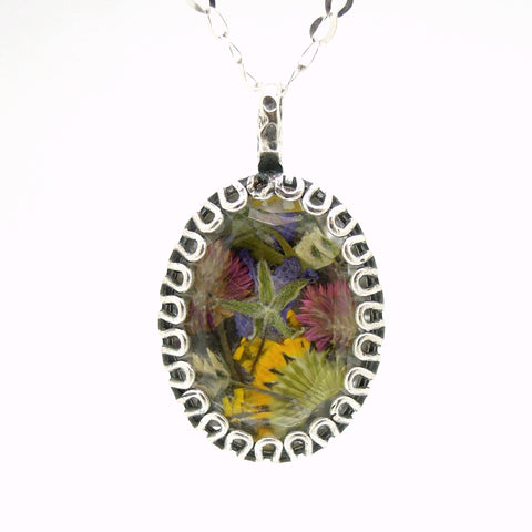 Pendant - Real Flowers From Israel Necklace, Laid In A Silver And Crystal Frame
