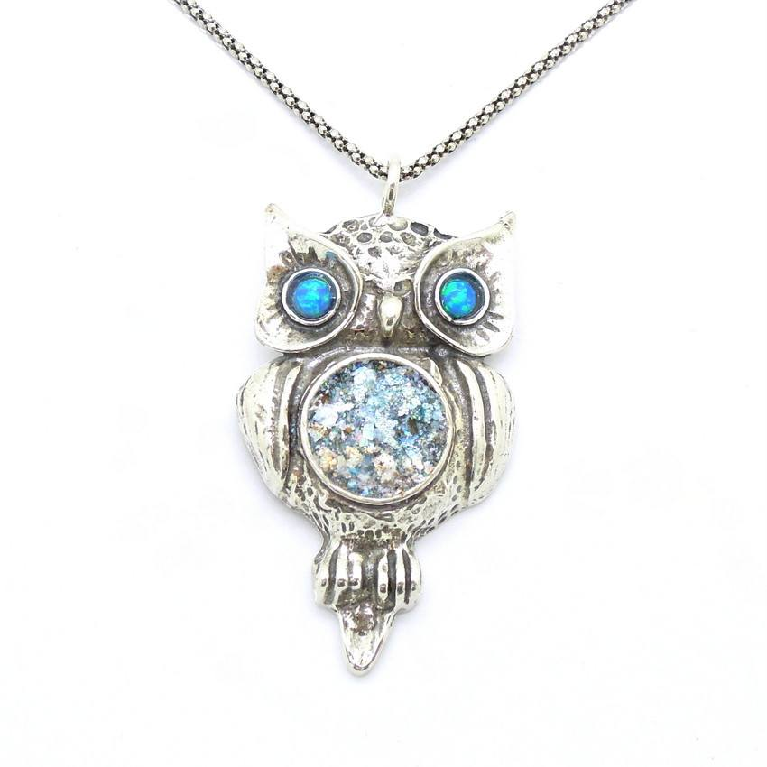 Pendant  - Roman Glass And Opal Gemstone Necklace - Owl Design