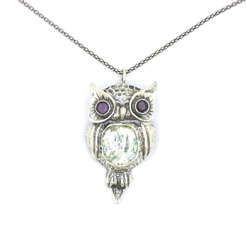Pendant  - Roman Glass And Silver  Amethyst Pendant - Owl Design