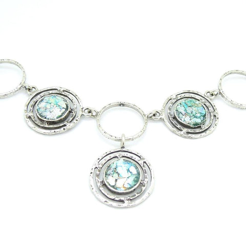 Pendant  - Roman Glass And Silver Circles Necklace