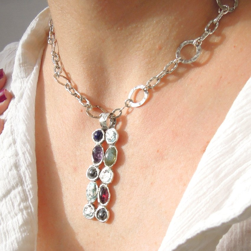 Pendant  - Roman Glass And Silver Gemstone Necklace