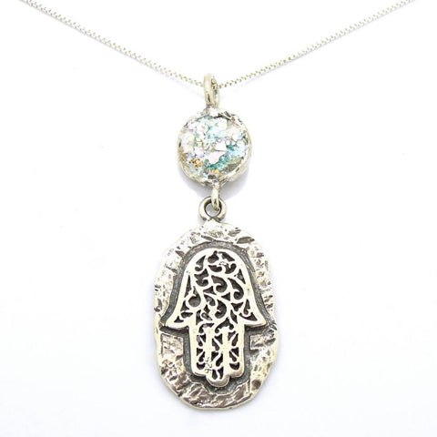 Pendant  - Roman Glass And Silver Hamsa Necklace