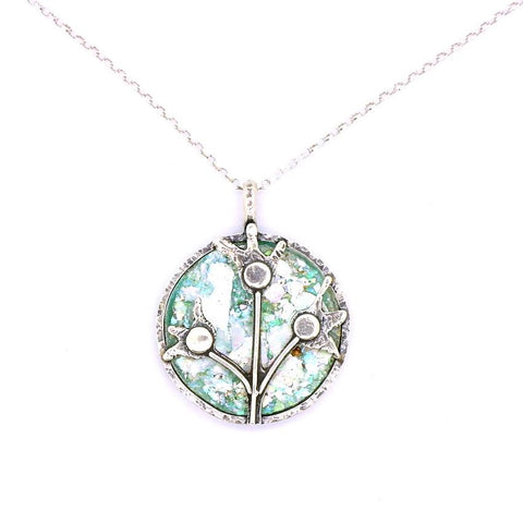 Pendant  - Roman Glass And Silver Necklace -  Flowers Unique Design